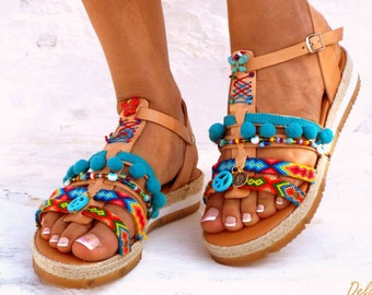 Blue Artemida, Friendships  Boho Sandals, Pom pom summer shoes,  Handmade Sandals, Greek Sandals, Bohemian sandalsMade with love