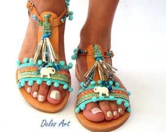 "Sandals, Pom Pom sandals, Blue leather Sandals, boho Sandals, \""Gaia\"" Ancient Greek Sandals, barefoot, hippie leather shoes, Summer shoes"