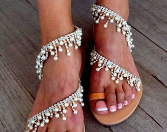"Crystal & pearls,  Bridal sandals, Leather sandals, ""Pearls waterfalls"",  Beach Wedding Sandals, wedding shoes, luxury sandals, Greek Sandal"