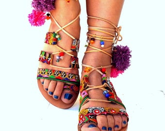 "Pom Pom Sandals, ""ITALIANA\""  Leather Sandals, Gladiator sandals, Greek Sandals, Colorful Sandals, beaded sandals, bohoMade with love"