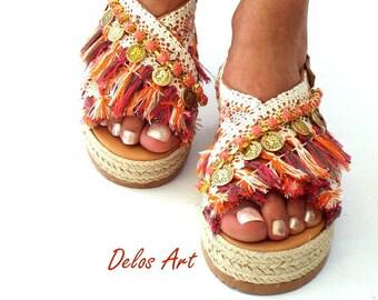 Orange and coral, Leather sandals, Sandals wedged Heel, Platform,  Greek leather sandals, boho sandals,  Handmade sandalsMade with love