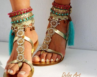 Luxury Gold Sandals, Leather sandals, Greek handmade leather sandals, made to order, .Made with love