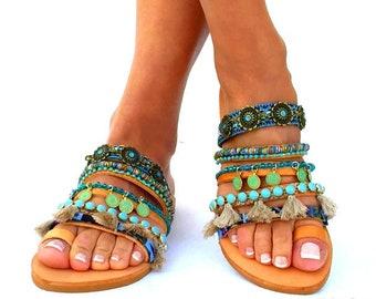 Sesami,  Leather sandals, Colorful Sandals, slip on  sandals, Greek Sandals, Summer shoes, Women's Shoes,, boho sandals, oriental sandal