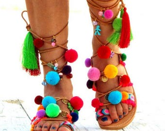 "Pom Pom Sandals, Leather Sandals, Gladiator sandals, Greek Sandals, ""Armonia\"" Colorful Sandals, beaded sandals, bohoMade with love"