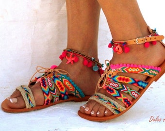 "Handmade leather sandals  with Friendships  in  Boho style  ""JOSEFINE"",  embellishment with Pom pom . Greek Sandals,  Bohemian sandals"