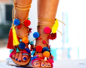 AIRLIA POM POM Sandals, Pom Pom, Leather Sandals, Gladiator sandals, Greek Sandals, Colorful Sandals, beaded sandals, boho leather shoes