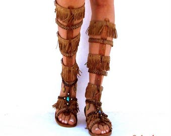Native America Tall gladiator sandals, hippie shoes, Gladiator Sandal, boho sandals, summer boots, Genuine leather shoes, festival sandals