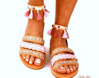 "Leather Boho Sandals, ""CYMONE"",  pink summer sandals, Greek Sandals, Handmade Sandals, , hippie sandals, Bohemian sandals"