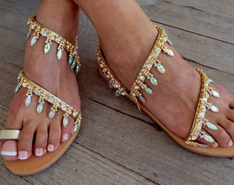 "Gold  Bridal sandals, Leather sandals, ΑΒ Crystal, ""Star light"",   Wedding Sandals, wedding shoes, luxury sandals, Greek Sandal"