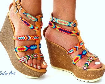 Cork wedged Heel,  Leather sandals, Platform sandals, Greek leather sandals, Boho sandals, Colorful sandals, Handmade sandalsMade with love