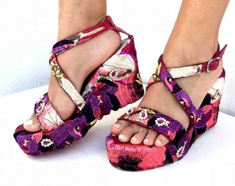 Embroidered  purple flowers wedged,  Heel, Platform, Greek leather sandals, Handmade sandals, Made with love