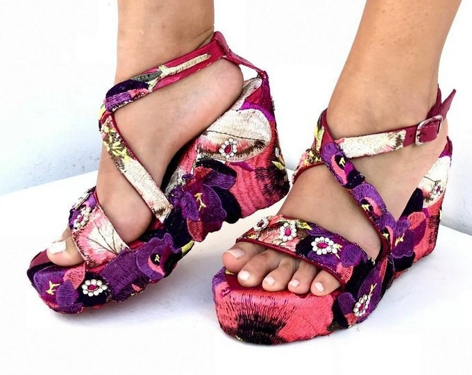 Featured listing image: Embroidered  purple flowers wedged,  Heel, Platform, Greek leather sandals, Handmade sandals, Made with love