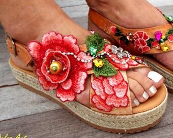 Peach pink leather Sandal, flowers sandals, wedged Heel, Platform, slip on  sandals , Greek  sandals,  Handmade sandalsMade with love