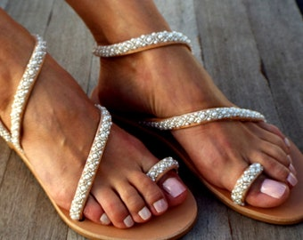 Wedding Sandals, 'Elena' Handmade Sandals, Greek Leather Sandals, Luxury Sandals, Pearls , Delos ArtMade with love