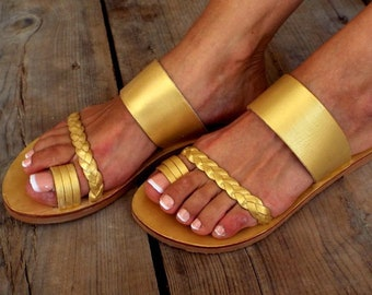 "Gold Leather sandals, ""Gold no 25"" Greek sandals, Delos Art Exclusive , Greek sandals, Leather sandals, Greek sandals,, Made to order"