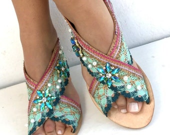 "Leather Sandals ""Crystal Lagoon "" ,  Handmade sandals , Boho sandals, Women's Shoes,  Leather sandals,  oriental sandalsMade with love"