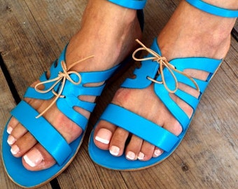"Greek sandals, ""Blue Turquoise No 19"" Delos Art Exclusive , Greek sandals, Leather sandals, Greek sandals,, Made to order"