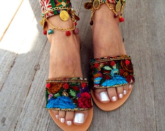 Slides, Leather sandals,  'Ipanema'  Handcrafted sandals,   Anklet sandals, Greek leather sandals, Made to order, Delos ArtMade with love