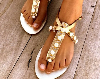 Crystal gold Bridal sandals, Leather sandals, Beach Wedding Sandals, wedding shoes, luxury sandals, Greek Sandal, Made with love