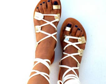 Gladiator, Leather Sandals, 'Amara' Ivory and gold lace up Sandals, Greek Sandal, handmade Genuine leather shoes, Bridal sandals
