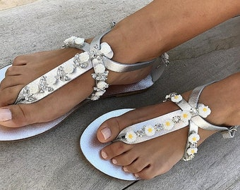 Crystal SILVER Bridal sandals, Leather sandals, Beach Wedding Sandals, wedding shoes, luxury sandals, Greek Sandal, Made with love