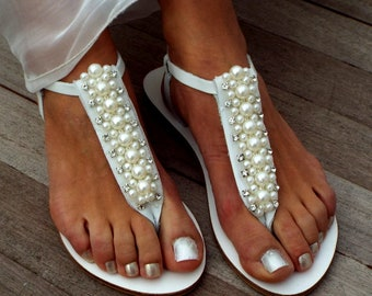 Bridal sandals, Pearl and crystal weeding sandals, leather sandals, luxury shoes, Greek Sandals,   Summer shoesMade with love
