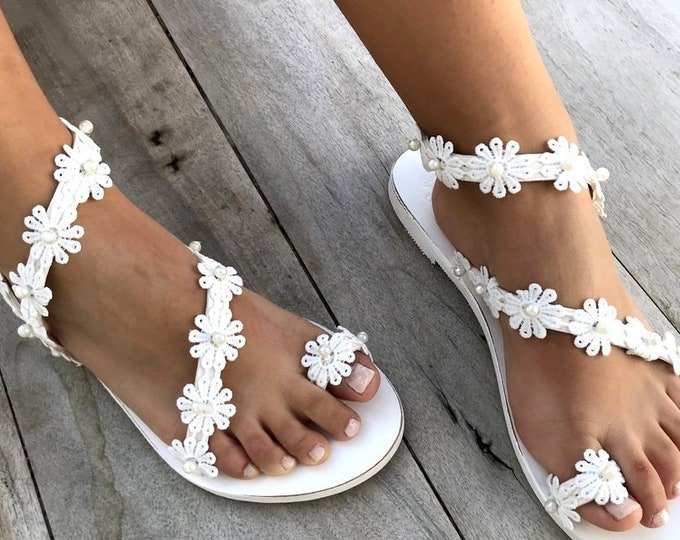 """Featured listing image: Wedding Sandals, """"Daisy"""" Handmade Sandals, Greek Leather Sandals, Luxury Sandals, Pearls , Delos ArtMade with love"""