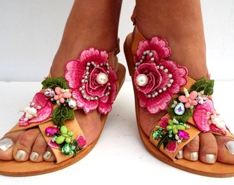Roses sandals , Handmade sandals ,  leather sandals, Boho sandals, Women's Shoes,  luxury shoes from Delos ArtMade with love