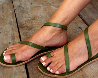 "Greek sandals, ""Avocado No 29"" Greek sandals, Leather sandals, Delos Art Exclusive , Greek sandals,, Made to order"