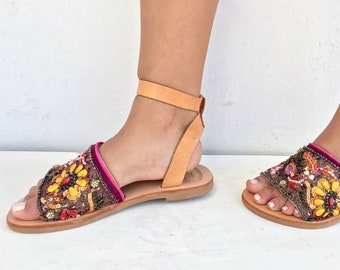 Leather Boho Sandals, Silk Sari Vindage Trim, Greek Sandals, Handmade Sandals, brown summer sandals, hippie sandals,  Leather sandals