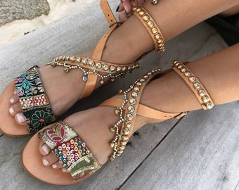 Leather Boho Sandals, antique trim, Greek Sandals, Handmade Sandals, brown summer sandals, hippie sandals,  Leather sandals,Made with love