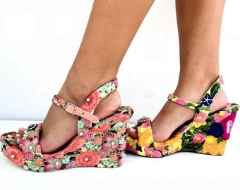 Embroidered flowers wedged,  Heel, Platform, Greek leather sandals, Handmade sandals, Made with love