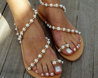 Wedding Sandals, 'PEARL' Handmade Sandals, Greek Leather Sandals, Luxury Sandals Pearls and Crystals flowersMade with love
