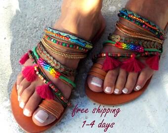 Aladin Colorful Sandals, Leather sandals, Greek Sandals, slip on  sandals, Summer shoes, Women's Shoes,  leather shoes, boho sandals
