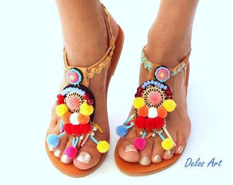 Sandals, Pom Pom sandals, leather Sandals, boho Sandals,  Greek Sandals, barefoot, hippie leather shoes, Summer shoesMade with love