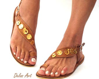 Luxury brown sandals  with gold elements, Bridal Sandals,  Greek Sandals, exclusive Delos Art sandals, handmade to orderMade with love