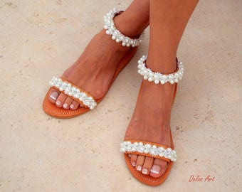 "Bridal sandals, leather sandals, White Beach Wedding Sandals,"" shining bride"" Pearl sandals, Greek Sandal,   Summer shoes"