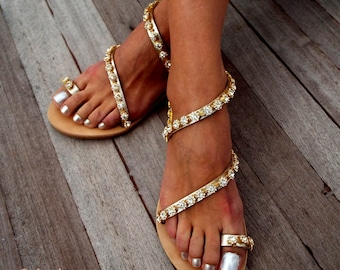 Crystal golden flower Bridal sandals, Leather sandals, White Beach Wedding Sandals, wedding shoes, luxury sandals, Greek Sandal