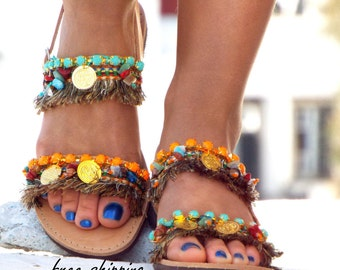 "Greek Sandals, leather sandals, Earth Colors shoes, ""Ibiza Party"" Summer shoes, hippie sandals, Boho sandals, oriental sandalsMade with love"