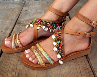 "Leather Boho Sandals, ""Shiva"", Greek Sandals, Handmade Sandals, brown summer sandals, hippie sandals,  Leather sandals,Made with love"