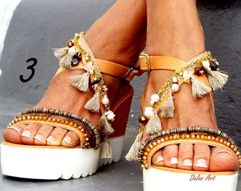 Leather Sandals, Photo shoot samples, sales no 38 us 7, Pom Pom, Leather Sandals, Gladiator sandals, Greek Sandals, Colorful Sandals,