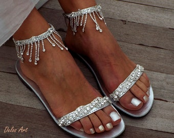 Crystal silver Bridal sandals, Leather sandals, Beach Wedding Sandals, wedding shoes, luxury sandals, Greek SandalMade with love