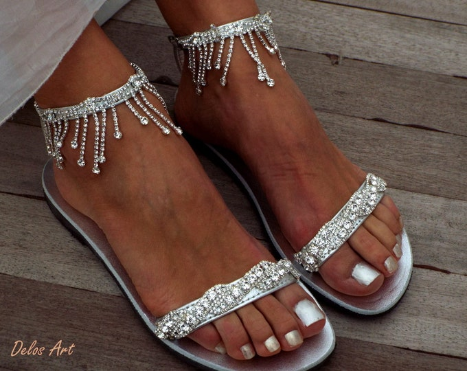 Featured listing image: Crystal silver Bridal sandals, Leather sandals, Beach Wedding Sandals, wedding shoes, luxury sandals, Greek SandalMade with love
