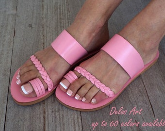 "Pale pink Leather sandals, ""Sugar Star"" Greek sandals, Delos Art Exclusive , Greek sandals, Leather sandals, Greek sandals,, Made to order"