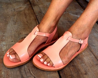 "Greek sandals, ""Virginia peach"" sandals, Delos Art Exclusive, Greek sandals, leather Greek sandals, bride sandals, Made to order"