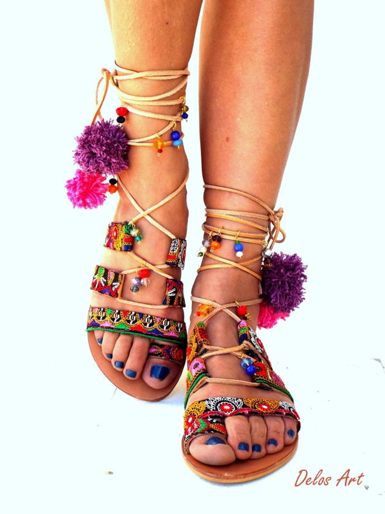 e47fc9659714 Pom Pom Sandals ITALIANA Leather Sandals