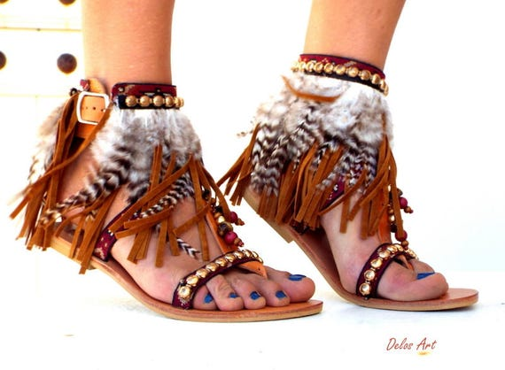 c0770a421306 Kleio Native America Tall gladiator sandals Leather