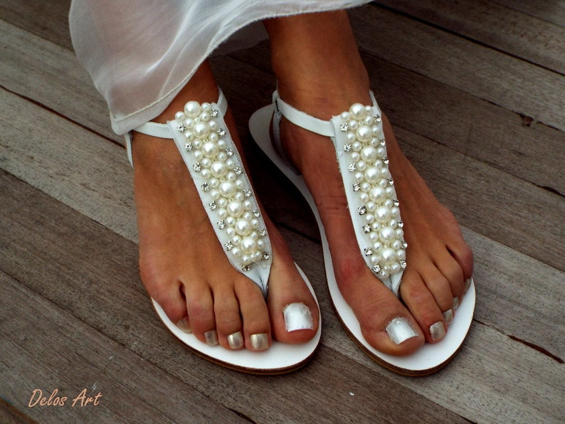 23aac6bbfab7 Bridal sandals Pearl and crystal weeding sandals leather