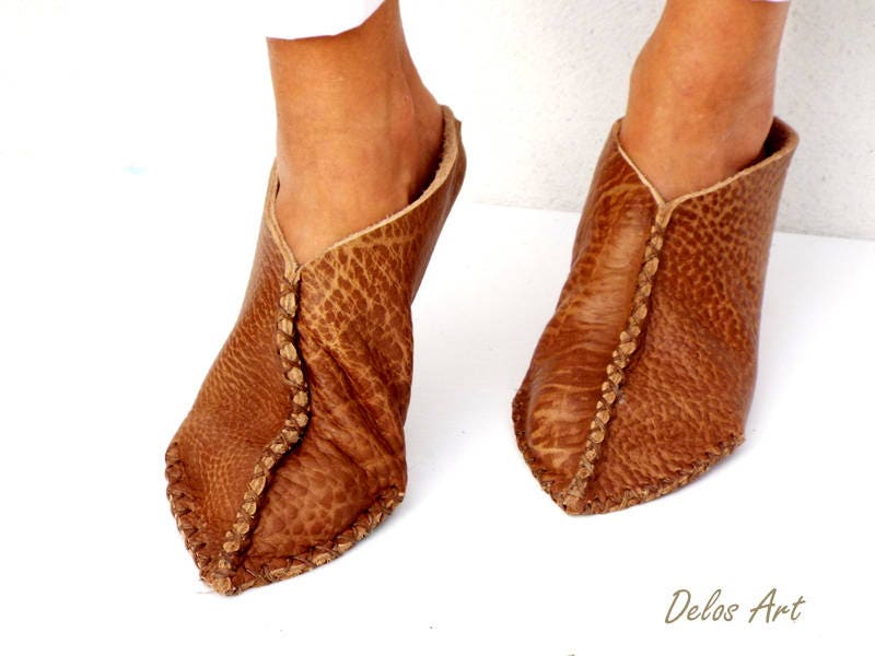Leather Slippers Christmas Gift For Her Brown Handmade Leather