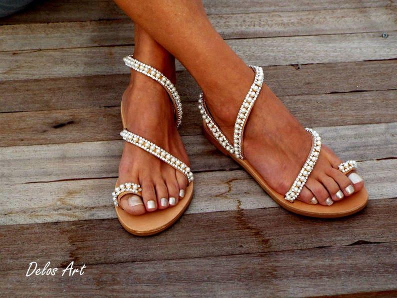 dd52a66bac2 Crystal   pearls elegant Bridal sandals Leather sandals